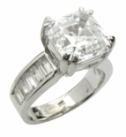 4 Carat Asscher Cut Cubic Zirconia Channel Set Baguette Solitaire Engagement Ring