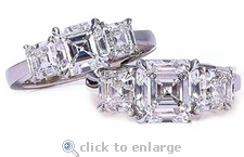 Three Stone 1.5 Carat Center Asscher Cut Cubic Zirconia Solitaire Engagement Ring