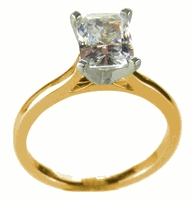 2.5 ct. Emerald Cut Cathedral Solitaire Featuring Ziamond Cubic Zirconia