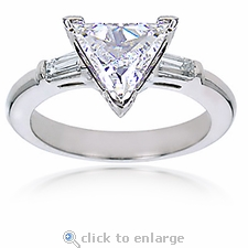 2.5 carat Trillion Triangle Shape Cubic Zirconia Baguette Solitaire Engagement Ring