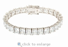 Parisian Square Princess Cut Bracelet Featuring Ziamond Cubic Zirconia