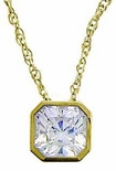Princess Cut Cubic Zirconia Bezel Set Classic Solitaire Pendants