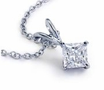 Princess Cut Square Cubic Zirconia Classic Basket Set Solitaire Pendants