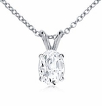 Oval Cubic Zirconia Classic Solitaire Basket Set Pendants