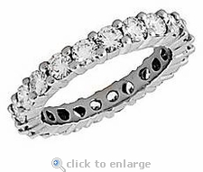Small 2.5mm Each Round Cubic Zirconia Shared Prong Set Eternity Band