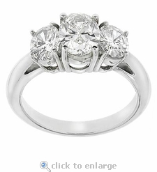 3 Stone Oval Anniversary Ring 3.5 ct. Center Featuring Ziamond Cubic Zirconia