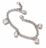 Charmed 1 Carat Each Marquise, Princess Cut, Pear, Heart & Round Cubic Zirconia Bracelet