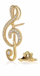 Treble Clef Music Note Pave Set Diamond Quality Cubic Zirconia Pin