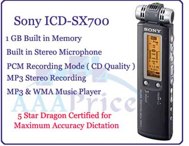 Sony ICD-SX700 MP3 & PCM Digital Voice Recorder
