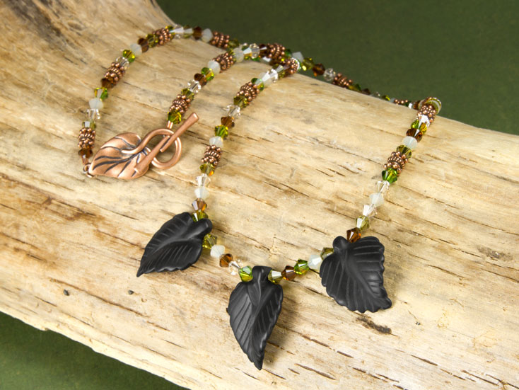 Onyx Leaves Necklace