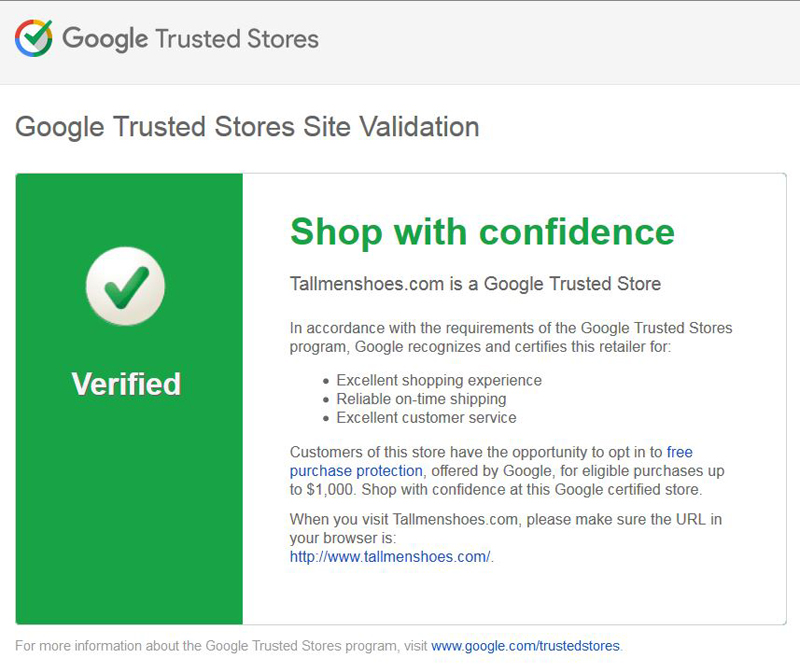 google trusted store for Tallmenshoes.com