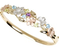 14K Tricolor Plumeria Flower and Gemstone Bangle