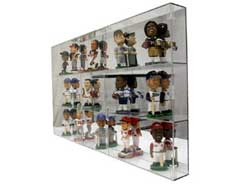 bobblehead cases are made of 316 thick acrylic shelves plexiglass and 14 top bottom and sides except for the backs which are made of acrylic