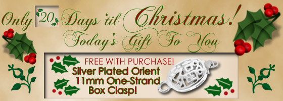 20 DAYS UNTIL CHRISTMAS - TODAY'S FREE GIFT WITH EACH ORDER IS SILVER ORIENT PUSH CLASPS! Brightlings Beads is here to supply you with all your beading and jewelry making supplies.