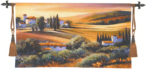Tapestry Afternoon Light In Tuscany - Tuscan Village Picture, 32in X 53in