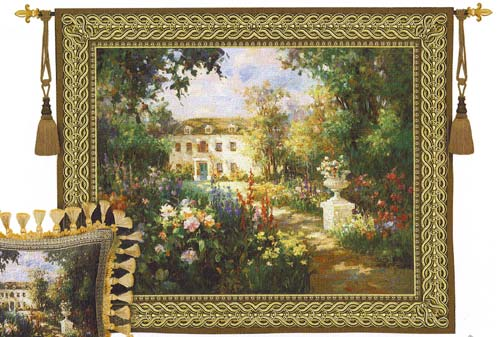 Aix En Provence Tapestry - Beautiful Garden Scene, 53in X 68in