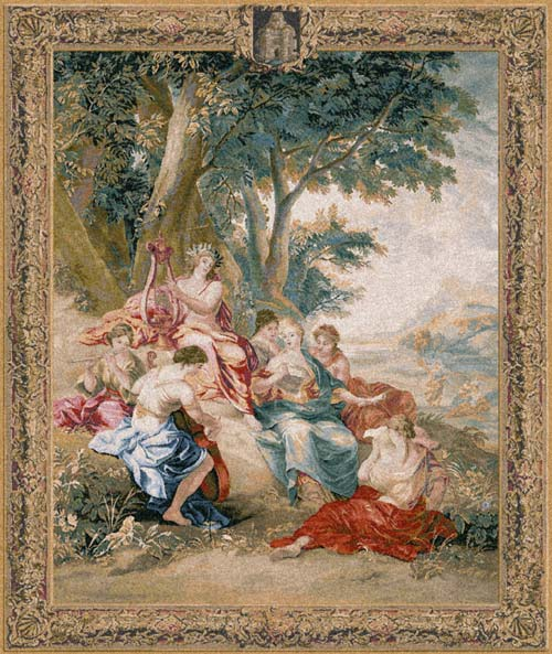 Mythological Picture Tapestry Apollo God And Muses, 49in X 39in