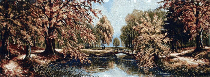 Large Wall Tapestry Beautiful Autumn Scenery, Landscape, 53in X 19in