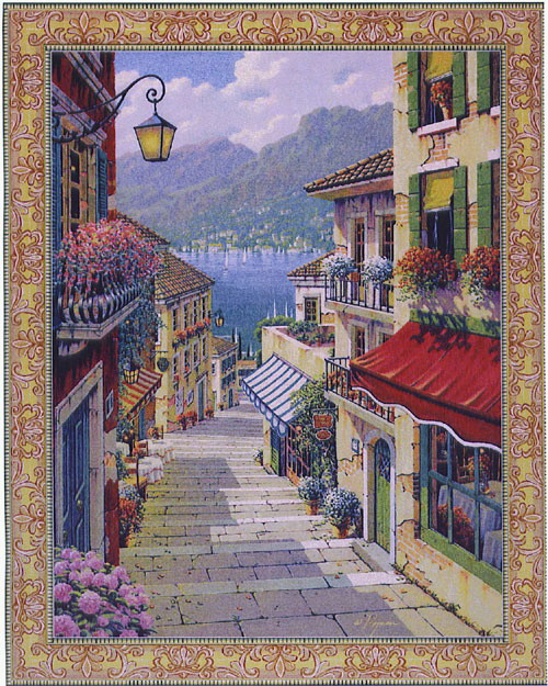 Bellagio Village Tapestry European Seascape Picture, 64in X 51in
