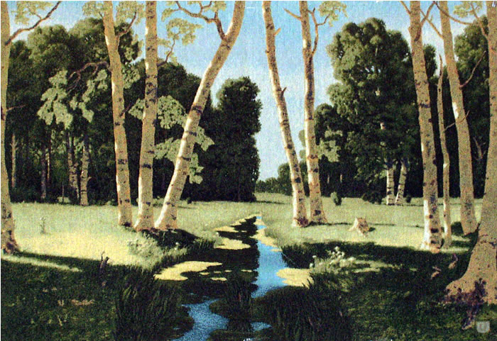Tapestry Reproduction Of The Painting A Birch Grove By Arkhip Kuinji - Birch Forest, 43in X 30in