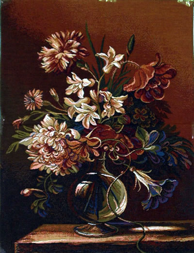 Floral Wall Tapestry Still Life With Flowers In Warm Colors, 20.5in X 26.5in