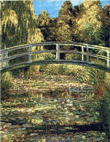 Belgian Wall Tapestry The Japanese Bridge From A Impressionist Painting By Claude Monet, 20in X 26in