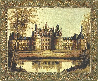 Medieval Tapestry Wall Hanging Chambord Castle Picture, 17in x 22in
