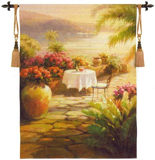 Courtyard View Tapestry Wall Hanging - Fine Art Picture, 53in X 39in