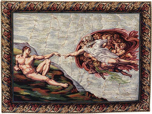 Creation by michelangelo wall tapestry painting full for Creation of adam mural