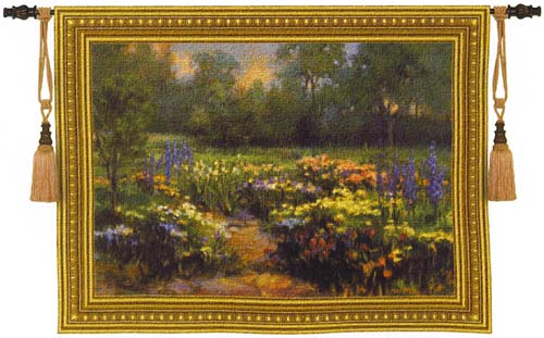 Delphinium Beautiful Garden Scene Tapestry Wall Hanging, 40in X 53in