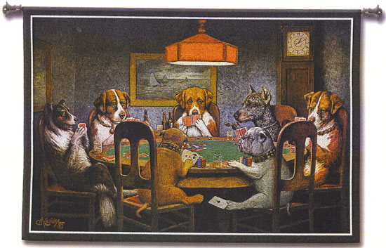 Dogs Playing Poker Picture Tapestry Wall Hangings