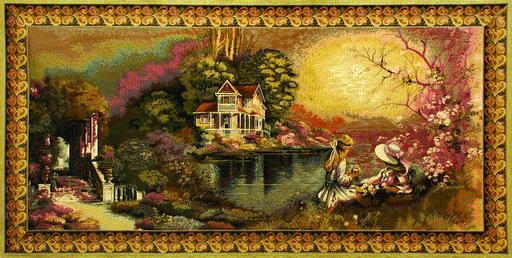 Belgian Tapestry First Love - Collection Of Pastoral Romantic Pictures, 56in X 28in