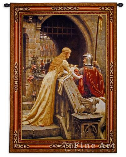 The Godspeed Painting Medieval Tapestry Wall Hanging - Knighting Ceremony by Leighton (One Of Our Best Medieval Tapestries)