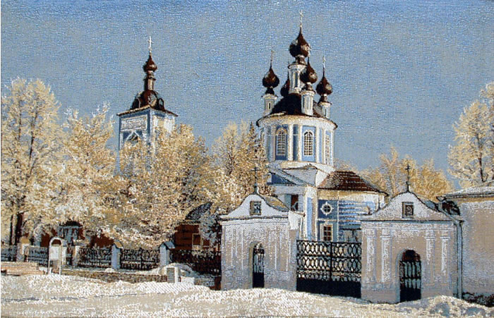 Religious Wall Tapestry Russian Winter Landscape With A Church, 20in X 31in