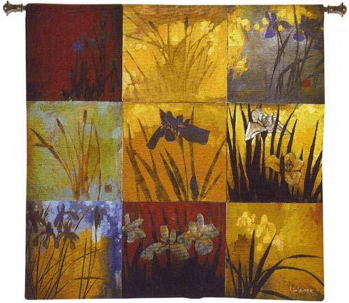 Contemporary Tapestry Wall Hanging - Iris Nine Patch - Fine Art Picture, 53in X 53in