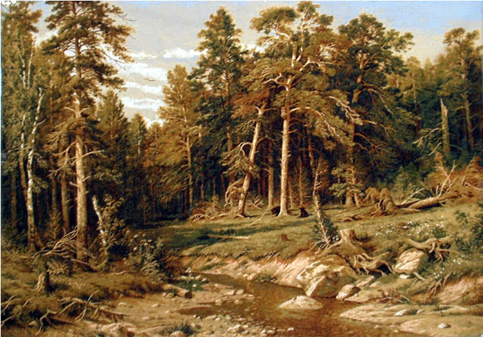 Large Wall Tapestry Reproduction Pine Forest In Viatka Province, Shishkin, 28.5in X 41.5in