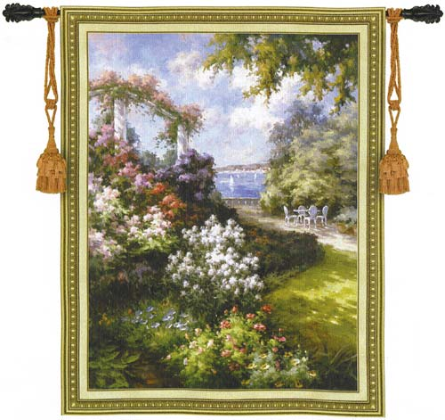 Morning Retreat Garden Scene Tapestry Wall Hanging, 53in X 40in