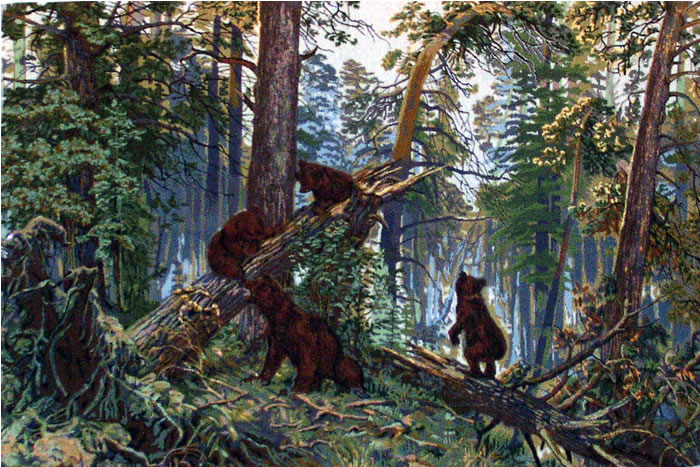 Reproduction of the famous russian painting morning in the pine forest