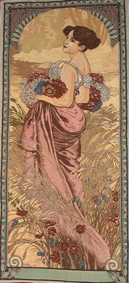 art nouveau artists. Art Nouveau Tapestry Set,
