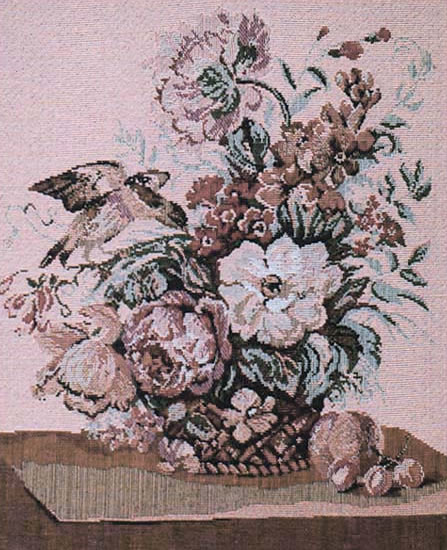 Floral Wall Tapestry Still Life With A Bird, 12.8in X 15.2in