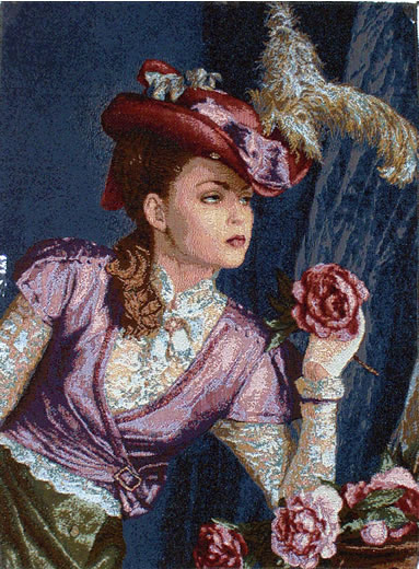 Picture Of Victorian Lady - Tapestry Portrait Of A Lady With Flowers, 20in X 26in