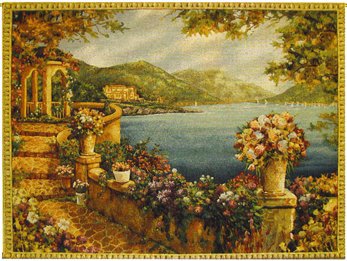 Seaside Terrace Tapestry Wall Hanging - On The Waterfront, 40in X 54in