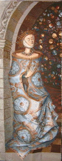 Medieval Princess Picture Tapestry Wall Hanging, 54in X 22in