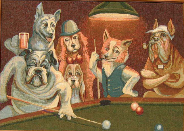 "Dogs Playing Pool Picture Tapestry Wall Hanging Size: 30"" x 21"" More info."