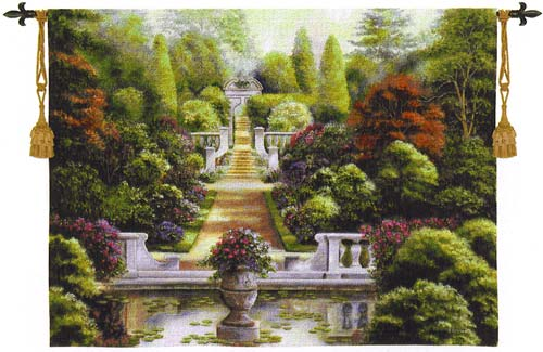 Rose Garden Tapestry Wall Hanging - Landscape With Flowers, 38in X 53in