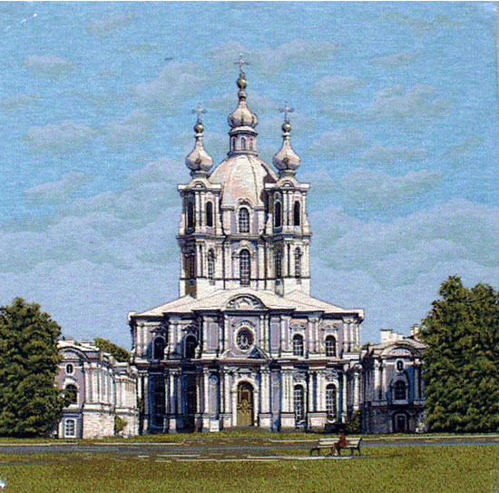 Wall Tapestry With The Orthodox Church - The Smolniy Cathedral, 19in X 19in