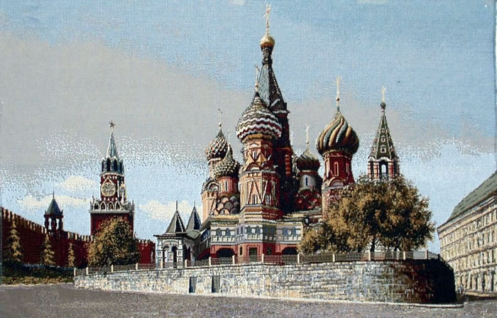 Religious Wall Tapestry - Russian Orthodox Church Picture: St. Basil'S Cathedral, 20.8in X 31.6in
