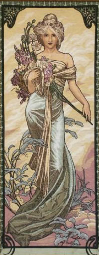 Large Tapestry Spring by Alphonse Mucha - Four Seasons Mucha Reproduction, 27in x 59in