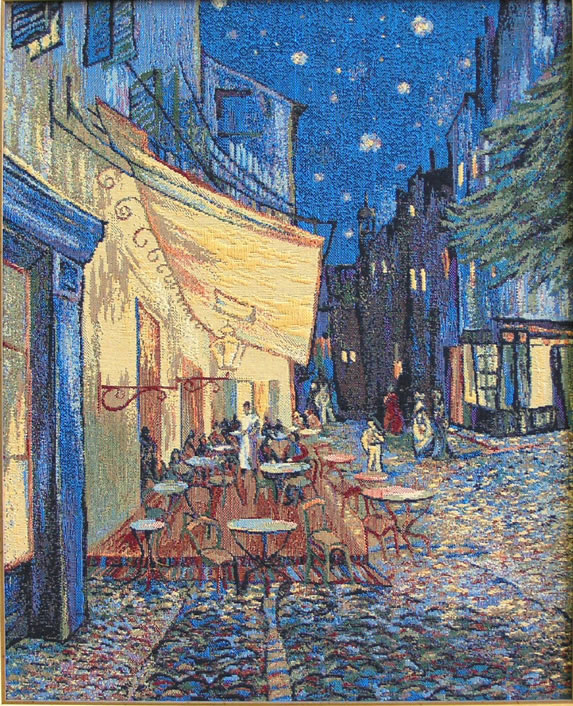 Van Gogh Painting Tapestry Wall Hanging Reproduction The Café Terrace At Night, 22in X 26in