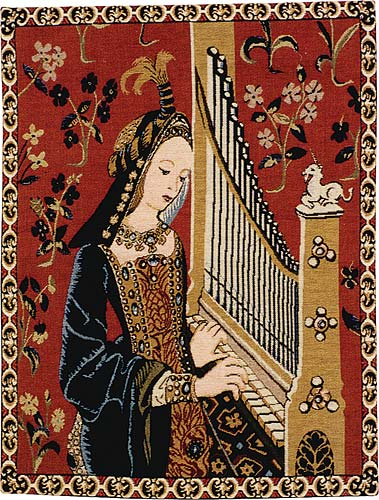 French Medieval Tapestry The Lady with Organ
